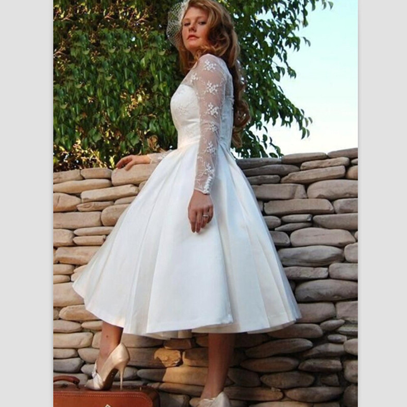Short Wedding Dresses Plus Size 2015 White Tea Length Wedding Gowns ...