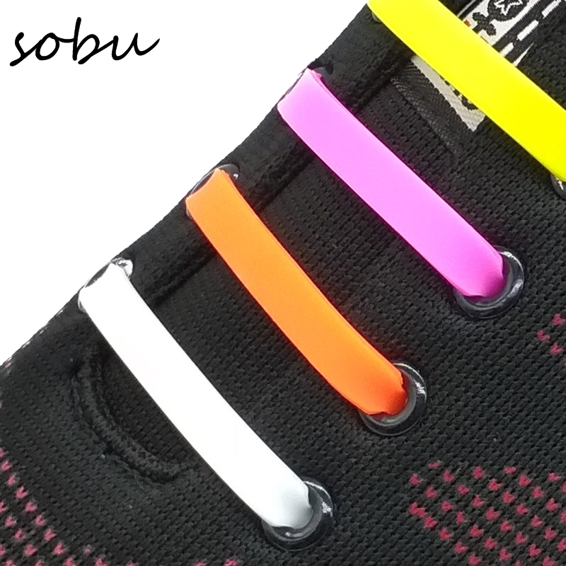 16pcs/lot Shoelaces Novelty No Tie Shoelaces Unisex Elastic Silicone Shoe Laces V002 купить