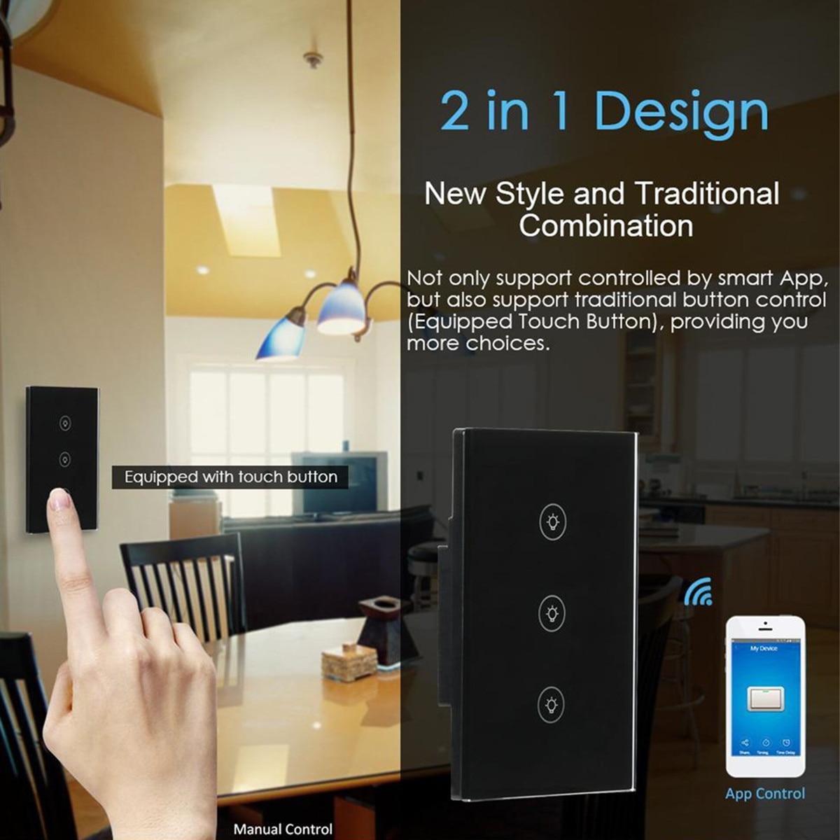 1/2/3 Gang WiFi Smart Light Switch EU/UK/US Plug App Remote Control Wall  Switch Work with Alexa/Google Black Intelligent Safety
