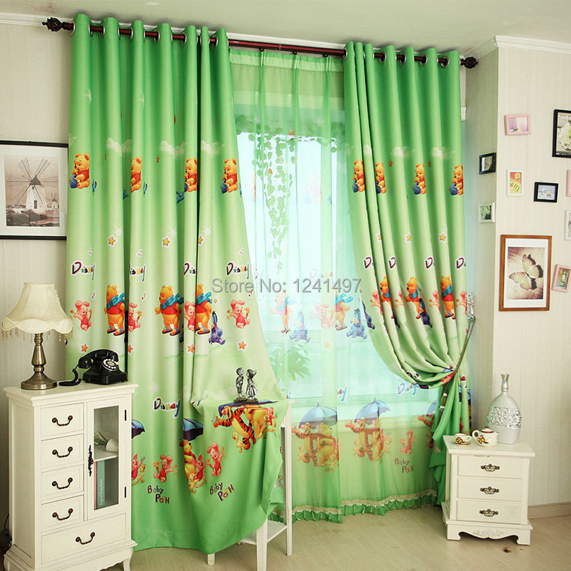 1551b200e810 2015 New Popular Winnie the Pooh boys curtains for kids green blockout  curtains for living room blue curtains-in Curtains from Home   Garden on ...