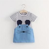 New Baby Girls Summer Dresses Short Sleeve O Neck Cute Cartoon Mouse Dresses Kids Fashion School