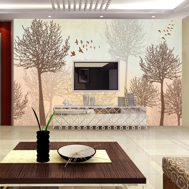 Buy mural simple modern abstract tree for Tree wallpaper living room