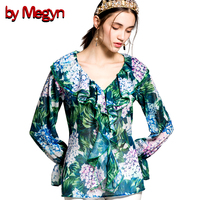 by megyn women flare long sleeve blouse green floral print ruffle blouse sexy v neck 2018 summer women fashion tops blouses