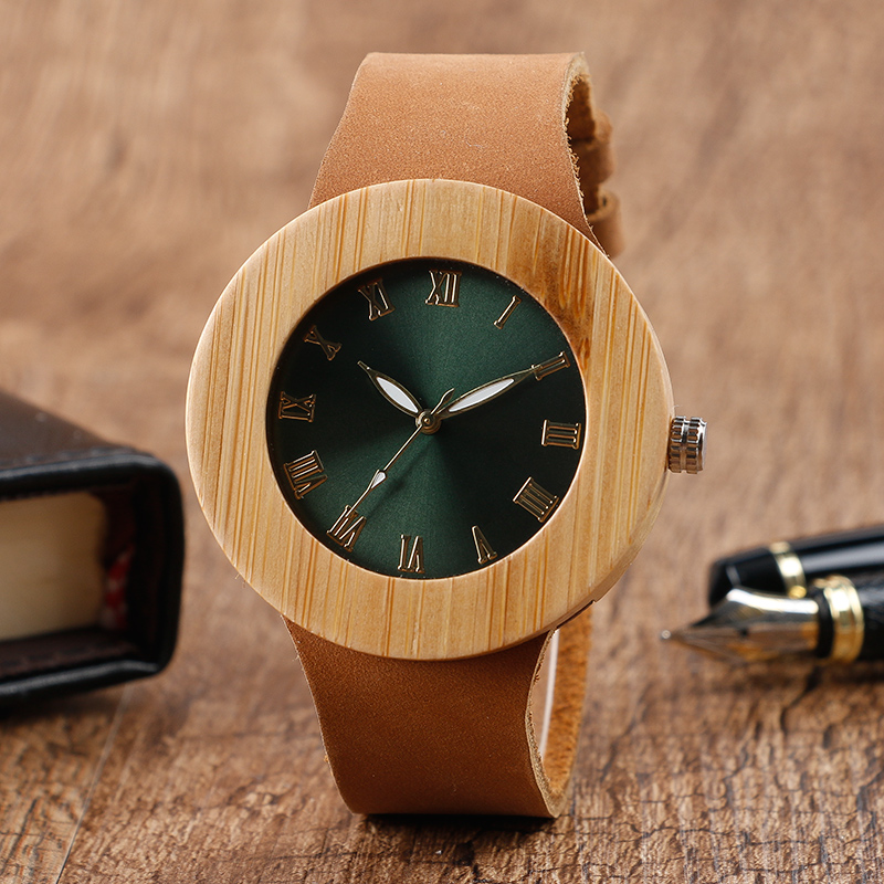 Fashion Design Nature Women's Wood Watches with Genuine Leather Band Hand-made Wooden Wristwatch for Men Reloj de madera simple fashion hand made wooden design wristwatch 2 colors rectangle dial genuine leather band casual men women watch best gift