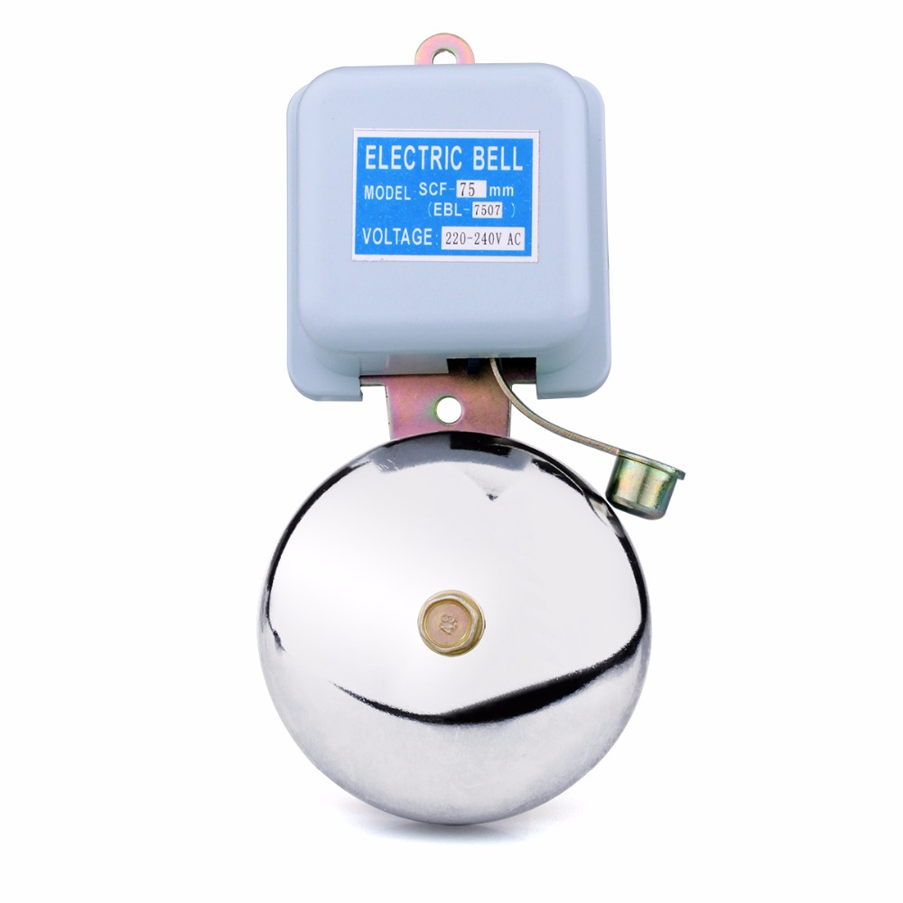 Calling System AC 220V Factory School Bell Alarm Safety Electric Bell 75mm Doorbell Access Control For Home Security F3336