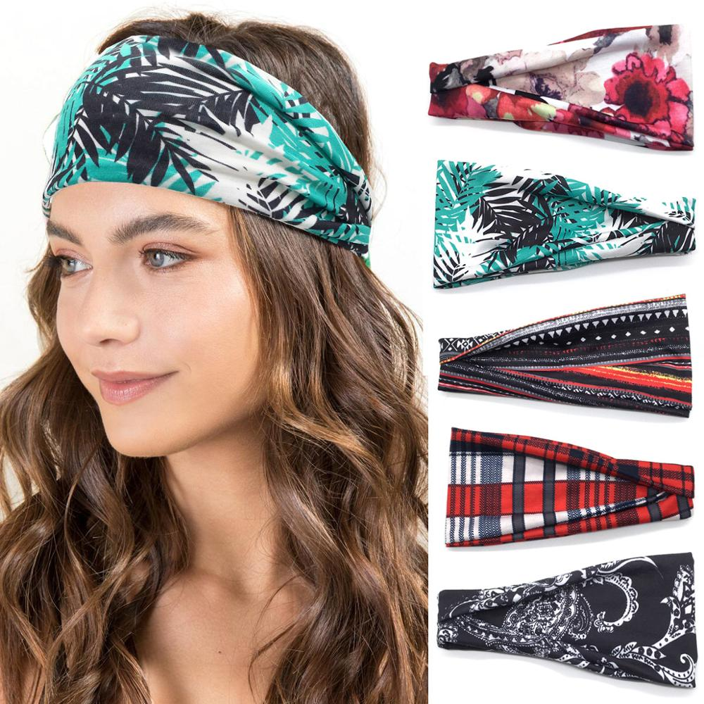 Twist Turban Headband Sweat Band Elastic Sport Hairbands Head Band Yoga Headbands Headwear Headwrap Girls Hair Accessories
