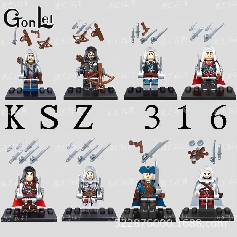 GonLeI Building Blocks Assassins Creed 4 Kenway Blcak Flag Edward James Connor Haytham E Altair Ezio Super Heroes Toy KSZ316