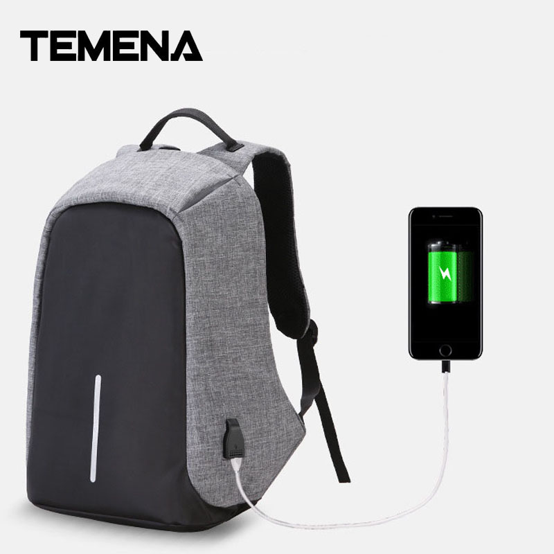 Temena Fashion Men USB Charging Function Laptop Backpacks School Bag Waterproof Anti Theft Backpack For Male Teenager BagsABP343 lielang brand backpack men laptop backpacks leather high quality waterproof bags for men fashion teenager school bag camouflage