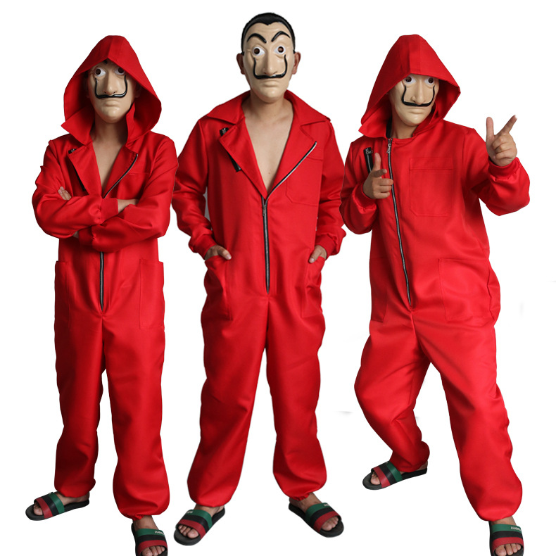 Banknote house cos clothing Dali Daley red body suit Clown Costume Cosplay anime Costume