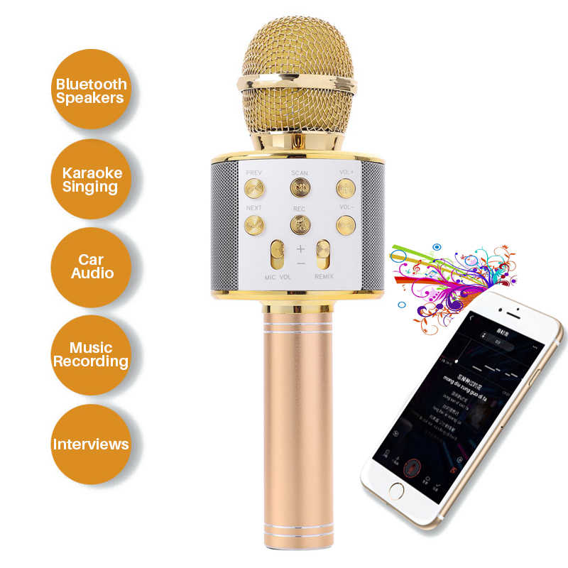 Professional Handheld Wireless Bluetooth Microphone Karaoke Mini Home KTV Microphone Player speaker For Phone Iphone Android