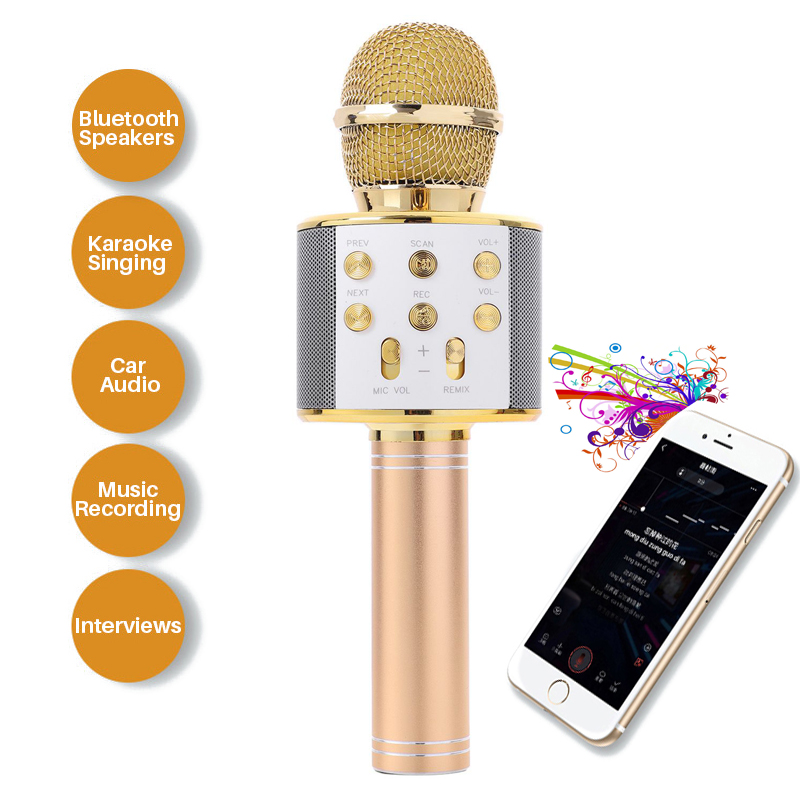 Professional Handheld Wireless Bluetooth Microphone Karaoke Mini Home KTV Microphone Player speaker For Phone Iphone Android professional karaoke wireless microphone system 2 channels led display receiver cordless handheld mike for mixer stage computer
