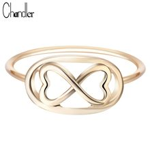 Chandler Sliver Plated Infinity 8 Eight Knot Rings For Women Eternal Friendship Jewelry Friends Best Gifts Birthday Luxury(China)