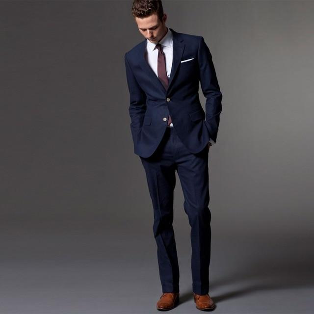 Men Suit Tuxedo Custom Made Wedding Suits For 2018 Tailored Light Navy Blue Mens