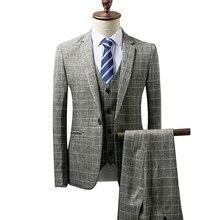 дешево!  Плед костюмы осень новый мужской костюм с одной пряжкой решетки костюм из трех частей (пальто + брюк