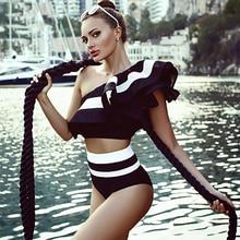 שתי חליפות בגדי ים מיני ביקיני כתף אחת בביקיני לדחוף את המותניים גבוה בגד ים בגדי ים חליפה לנשים