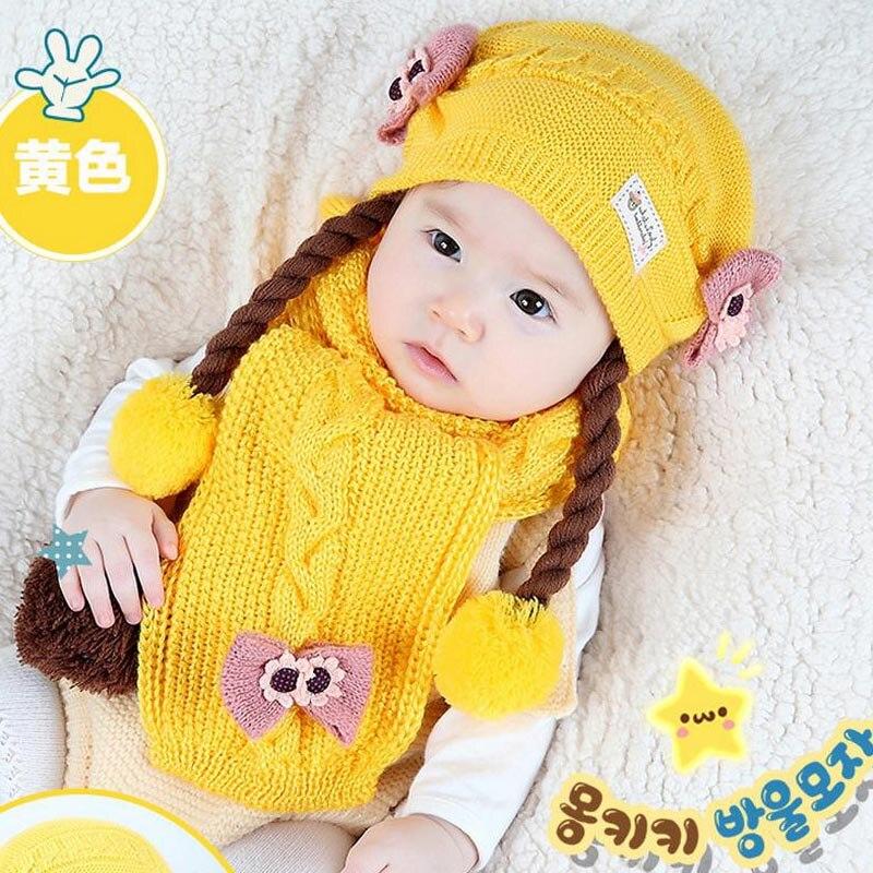 Doitbest корейский Поддельные косы детские вязаные шапки зима два цветка 2 шт детский шарф для девочки шляпа Набор Возраст 6 месяцев-2 лет - Цвет: Цвет: желтый
