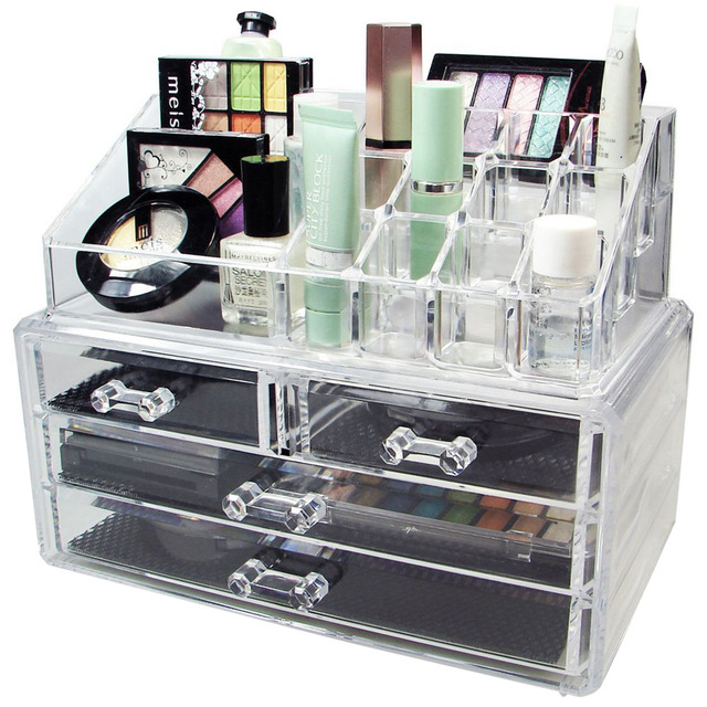 acrylic makeup organizer storage box case cosmetic jewelry 4 drawer cases holder makeup. Black Bedroom Furniture Sets. Home Design Ideas