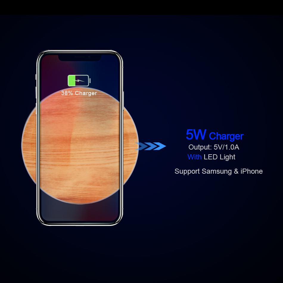 CinkeyPro Wood Wireless Charger Pad with LED Light 5W Charging for iPhone 8 X Samsung XiaoMi Charge Mobile Phone USB QI Device 9