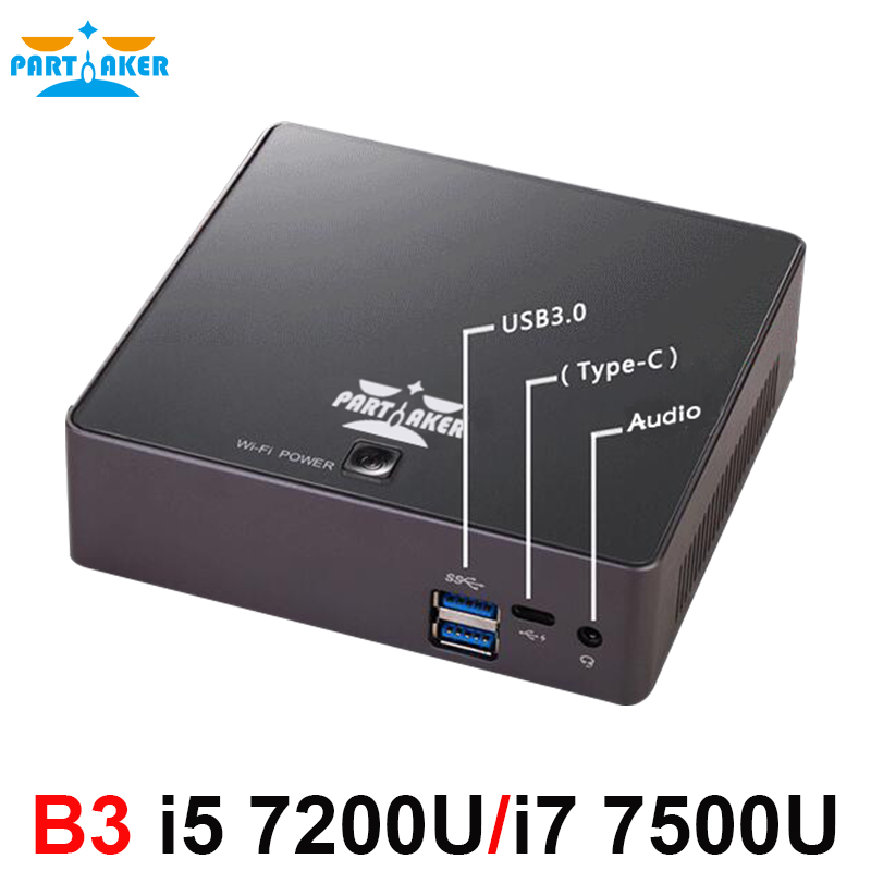 Big Selling!WIN10 Mini PC With Intel I5 7200U I7 7500U Processor Low Noise Fan Design Computer Partaker B3 dc 12v desktop pc win 7 win 8 win 10 linux kingdel mini industrial pc with celeron 1037u processor x86 mini pc dual lan