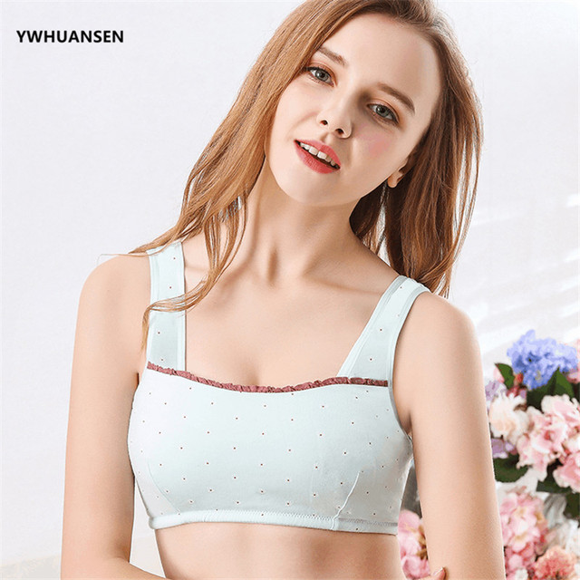 YWHUANSEN Lovely Bowknot Young Girl First Training Bra Teenage Sport Puberty Underwear Teen Child Fitness Bra Youth Small Breast
