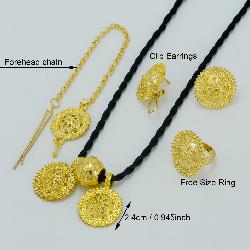 Anniyo Ethiopian Set Jewelry Gold Color Forehead Chain/Necklaces ...