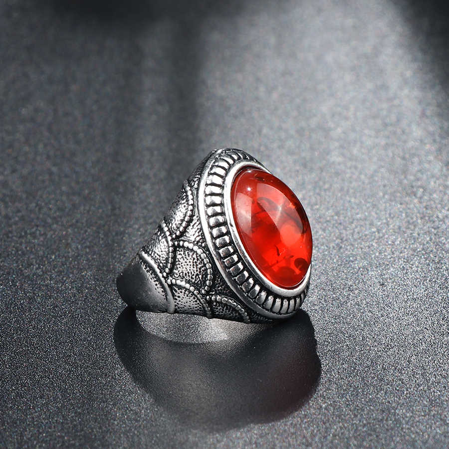Kinel Boho פאנק אדום אופל טבעות פנינה לנשים תורכי אהבת צבע כסף וינטג תכשיטי אבזרים 2017 ניו המפלגה טבעת