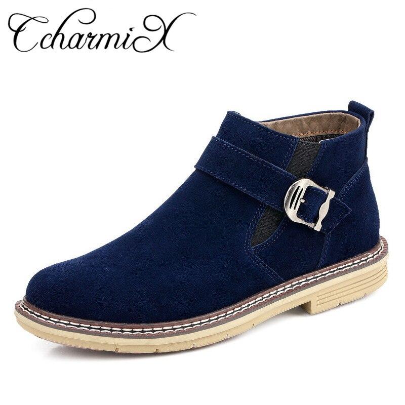 CcharmiX Chelsea Boots Men Cow Suede Zipper Autumn Winter Fashion Ankle Boots Gentlemen Real Leather Mens Snow Boots Plus Size italians gentlemen пиджак