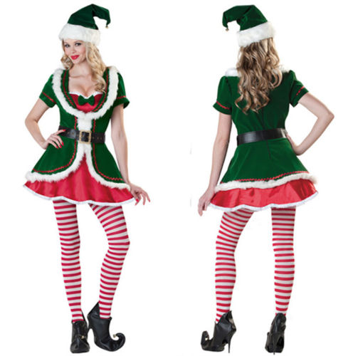4pc/Set Green Velvet Christmas Santa Claus Costume Xmas Dress With Belt Stockings and Hat For Adult Women