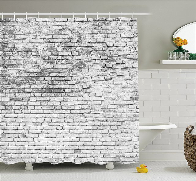 Memory Home Rustic Shower Curtain Worn And Cracked Grunge Stained Brick Wall Masonry Architecture Image Fabric