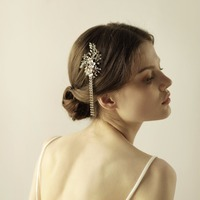 בעבודת יד תכשיטי שיער סיכות נשים סיכות שיער חתונה אביזרי כלה כיסוי ראש נישואים זהב פרחוני O837