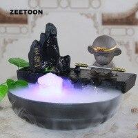 Sun Wukong Monkey King LED Water Feature Feng Shui Lucky Decor Humidifier Desktop Fountain Bonsai Fish Tank Flowerpot Nebulizer