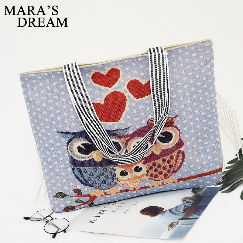 Mara's Dream Women Bag Women's Canvas Handbag Embroidery Owl Tote Lady Shopping Bag Shoulder Bags 2018 Summer Holiday Beach Bags 3