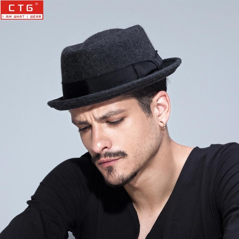 2016 Mode Unisex Lebar Brim Jazz Cap Musim Semi Katun Wol Fedora Topi - Aksesori pakaian - Foto 1
