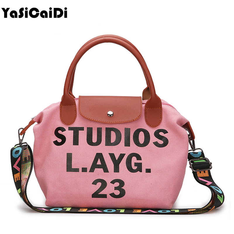 YASICAIDI Fashion Hobos Handbags Canvas printing Letter Shoulder Bags Women Colourful Strap Patchwork Tote Bag For Teenager Girl