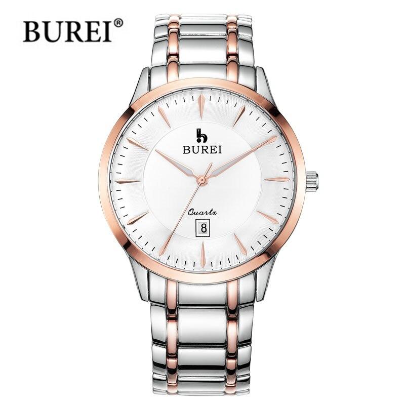 BUREI Brand lovers Watch Luxury men Quartz Wristwatch women Casual Business Watches stainless steel Casual clock hours relogio burei imported movement casual women quartz watch