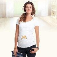 2018 New Maternal abdominal peek a boo print Maternity Tops T shirt Clothes Pregnant t shirts Womens Pregnancy Clothes S XXL