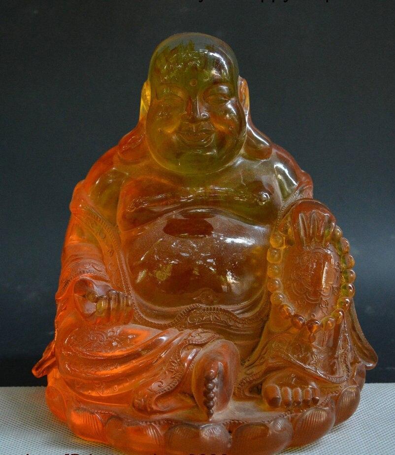 Chinese Amber Hand-Carved Buddhism Temple Happy Laugh Maitreya Buddha God Statue