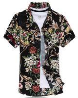 Shirt M 7XL 2015 Summer Style Short Sleeve Shirt Men Silk Cotton Floral Print Men S