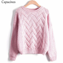 Capucines New 2018 Autumn Winter Women Sweaters Pullovers Fashion Plaid Mohair Sweater Female Casual Loose Thick Knitting Jumper
