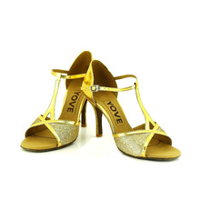 YOVE Dance Shoes Sequined Cloth Women's Latin/ Salsa Dance Shoes 3.5″ Slim High Heel More color LD-1139