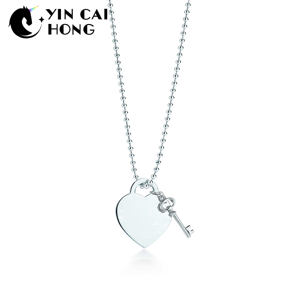YCH 925 Sterling Silver Classic Word Heart Lock Key Pendant Necklace Silver Color Women Original Elegant Clavicle Chain TIFF classic english word heart moon bracelet for women