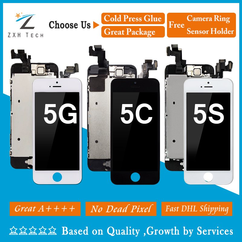 10PCS LOT DHL Shipping Mobile Phone Display for iPhone 5 5S 5C LCD Pantalla Touch Screen