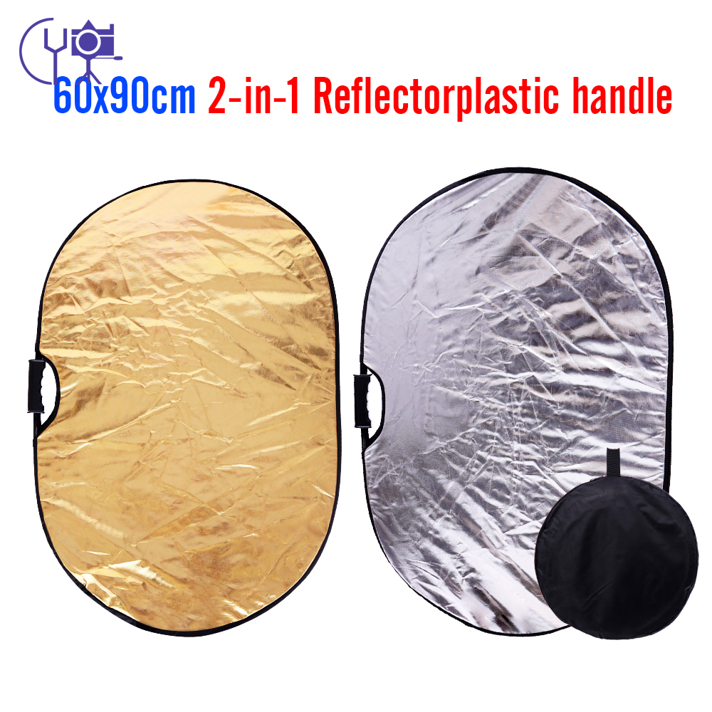 CY 2in1 60x90cm gold & silver Portable Collapsible Light Oval Photography Reflector for Studio with Handle Bar light reflector