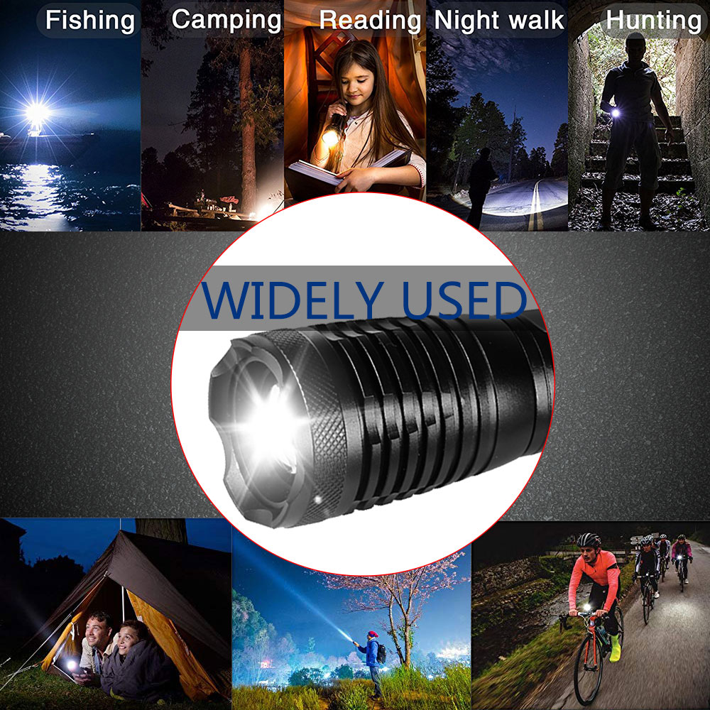 Купить с кэшбэком 3000 Lumens LED Tactical Flashlight T6/L2/V6 Porable Torch 5 Mode Adjustable Focus waterproof IPX6 by 18650 battery for Camping