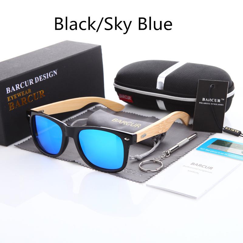 نظارة شمسية للرجال وللسيدات بعدسات بلورايزد واطار خشبي 4