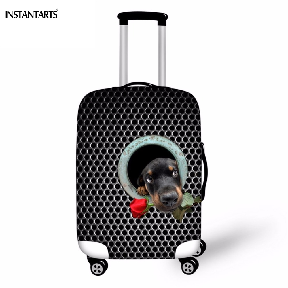 INSTANTAR Tree Cave Dachshund Dog Print Travel On Road Luggage Protect Cover Trolley Suitcase Waterproof Covers For 18