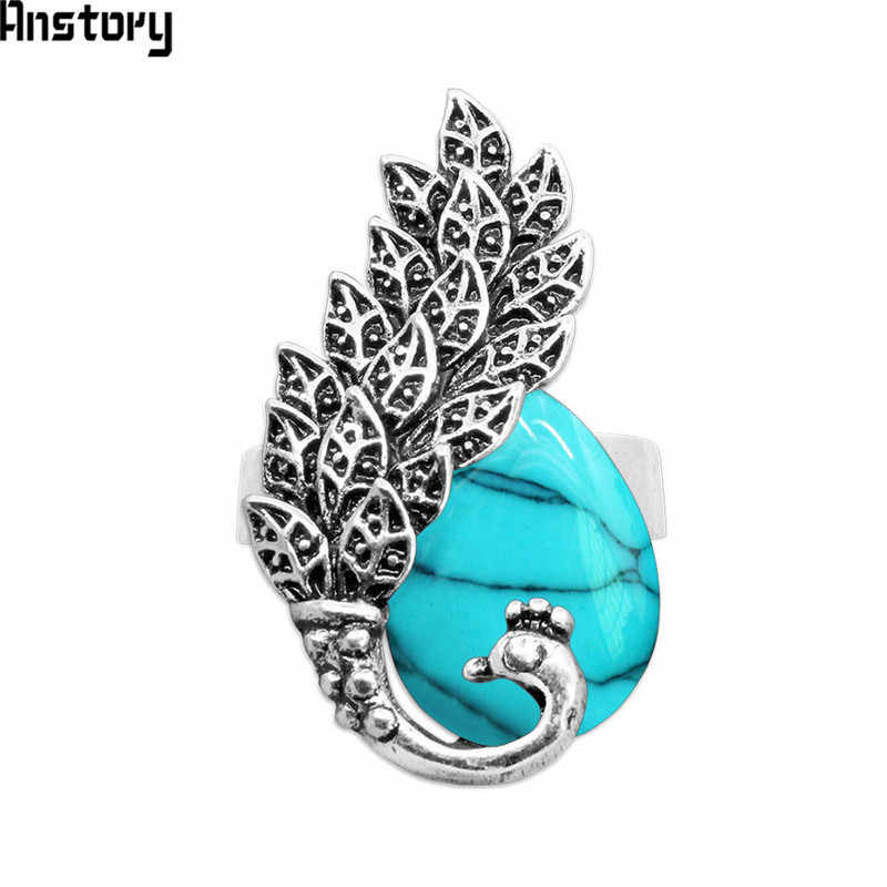 Water Drop Synthetic Turquoises Opal Peacock Adjustalbe Rings Antique Silver Plated Fashion Jewelry TR609