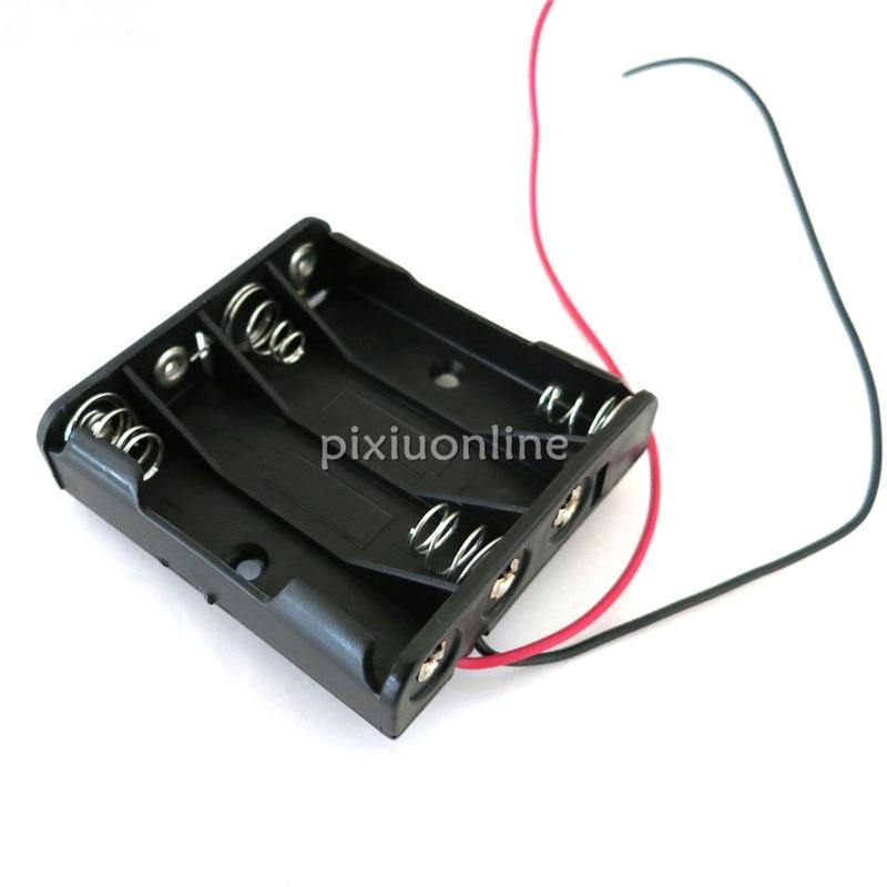 J081b Contain 4 AAA 6V Battery Box Black Color Plastic Mini Model Making Parts Free Shipping USA Europe Sell At A Loss