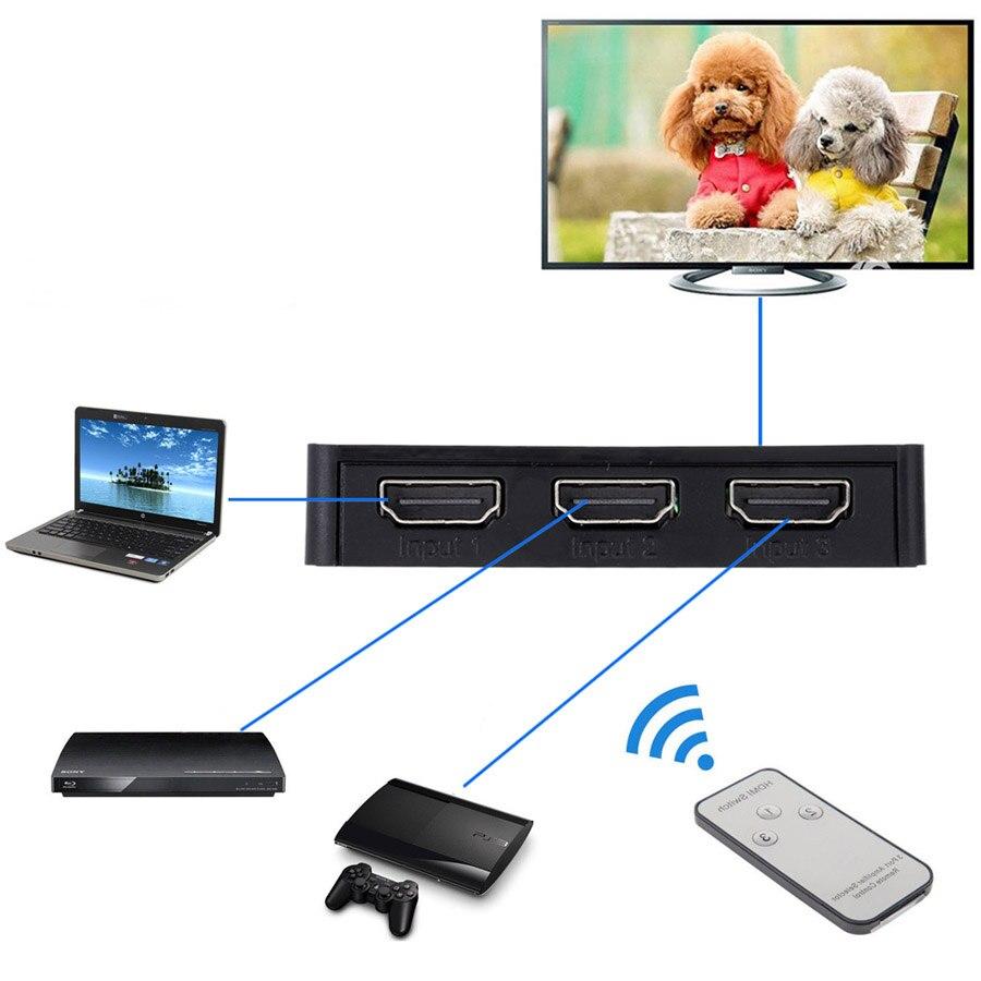 3 Port 1080P Video HDMI Switch Switcher Splitter Hub Box + IR Remote For HDTV PS3 DVD