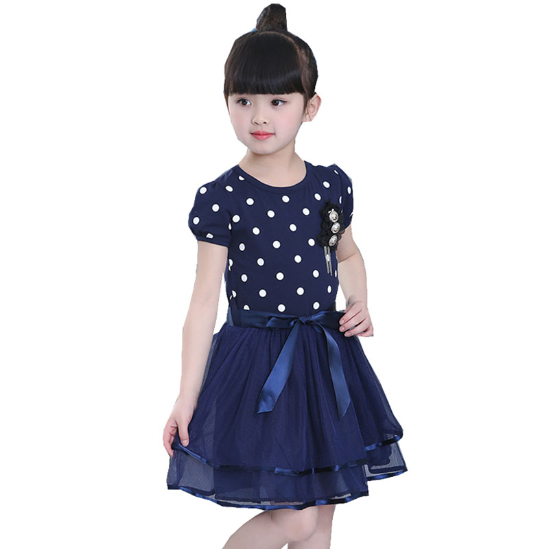 Children baby Kids Girls clothes summer dress for gilrs Dots print Mesh tutu princess dress 3 4 5 6 7 8 9 10 11 12 years old